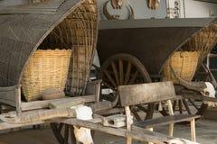 παλαιό κάρρο τροχόσπιτων, κρανίο βούβαλων, Στοκ Εικόνα