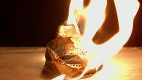 Παλαιό κάψιμο filmstrip απόθεμα βίντεο