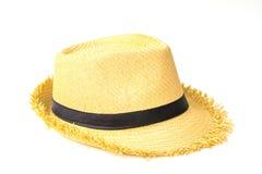 Παλαιό καπέλο αχύρου, άσπρο υπόβαθρο Στοκ Εικόνες