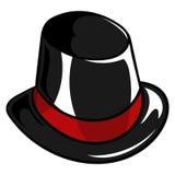 Παλαιό μαύρο καπέλο χιονανθρώπων μεταξιού διανυσματική απεικόνιση
