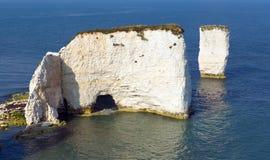 Παλαιό νησί βράχων του Harry απότομων βράχων κιμωλίας Purbeck στη νότια Αγγλία UK του Dorset Στοκ φωτογραφία με δικαίωμα ελεύθερης χρήσης