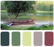 Παλαιό ξύλινο αλιευτικό σκάφος, παλέτα χρώματος με swatch χρώματος Στοκ Εικόνες