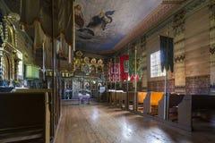 Παλαιό ξύλινο εσωτερικό Ορθόδοξων Εκκλησιών, Nowica, Πολωνία Στοκ φωτογραφίες με δικαίωμα ελεύθερης χρήσης