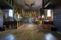 Παλαιό ξύλινο εσωτερικό Ορθόδοξων Εκκλησιών, Nowica, Πολωνία Στοκ εικόνες με δικαίωμα ελεύθερης χρήσης