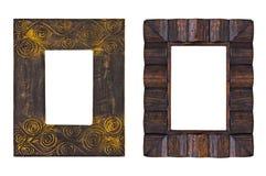 Παλαιό ξύλινο πλαίσιο εικόνων - που απομονώνεται Στοκ εικόνα με δικαίωμα ελεύθερης χρήσης