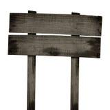 Παλαιό ξύλινο σημάδι που απομονώνεται στο λευκό Ξύλινο παλαιό σημάδι σανίδων Στοκ Εικόνα