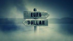 Παλαιό ξύλινο σημάδι σε μια μέση ενός διαγώνιου δρόμου με το ευρώ ή το δολάριο λέξεων απεικόνιση αποθεμάτων