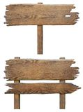 Παλαιό ξύλινο σύνολο πινάκων οδικών σημαδιών που απομονώνεται στο λευκό Στοκ φωτογραφία με δικαίωμα ελεύθερης χρήσης