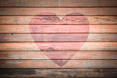 Παλαιό ξύλινο υπόβαθρο καρδιών Στοκ Εικόνα