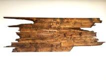 Παλαιό ξύλινο υπόβαθρο σανίδων στον άσπρο τοίχο Στοκ Φωτογραφία