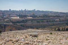 Παλαιό πανόραμα πόλεων της Ιερουσαλήμ και του Ισραήλ νεκροταφείων Στοκ εικόνες με δικαίωμα ελεύθερης χρήσης
