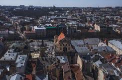 Παλαιό πανόραμα πόλεων Lviv Ουκρανία, Ευρώπη Στοκ εικόνα με δικαίωμα ελεύθερης χρήσης