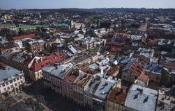 Παλαιό πανόραμα πόλεων Lviv Ουκρανία, Ευρώπη Στοκ Εικόνες