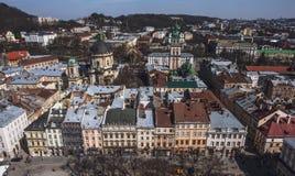 Παλαιό πανόραμα πόλεων Lviv Ουκρανία, Ευρώπη Στοκ φωτογραφίες με δικαίωμα ελεύθερης χρήσης