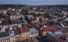 Παλαιό πανόραμα πόλεων Lviv Ουκρανία, Ευρώπη Στοκ Εικόνα