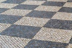 Παλαιό πεζοδρόμιο τούβλου πετρών οδών πόλης κέντρων Στοκ Φωτογραφία