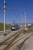 Παλαιό πρότυπο τροχιοδρομικών γραμμών με τα γκράφιτι Στοκ Εικόνες