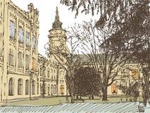 Παλαιό πόλης σκίτσο οικοδόμησης Στοκ φωτογραφία με δικαίωμα ελεύθερης χρήσης