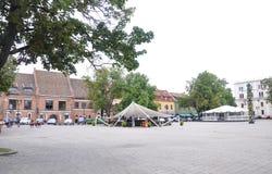 21.2014-παλαιό πόλης plaza Αυγούστου Kaunas σε Kaunas στη Λιθουανία Στοκ Εικόνα