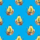 Παλαιό πλέοντας άνευ ραφής σχέδιο σκαφών διανυσματική απεικόνιση