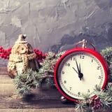 Παλαιό ρολόι, διακοσμητικό δέντρο γουνών κουκουβαγιών, μούρων και κλάδων στην ηλικία Στοκ Φωτογραφίες