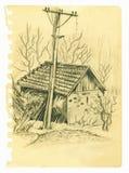 Παλαιό σκίτσο σπιτιών Στοκ Φωτογραφίες