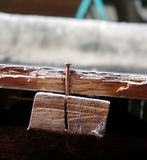 Παλαιό σκουριασμένο καρφί στο ξύλο στοκ εικόνες με δικαίωμα ελεύθερης χρήσης