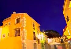 Παλαιό σούρουπο του χωριού ηλιοβασιλέματος Denia στην Αλικάντε Ισπανία Στοκ εικόνα με δικαίωμα ελεύθερης χρήσης