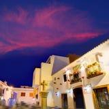 Παλαιό σούρουπο του χωριού ηλιοβασιλέματος Denia στην Αλικάντε Ισπανία Στοκ Εικόνες