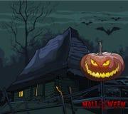 Παλαιό σπίτι με μια κολοκύθα σε έναν φράκτη τη νύχτα αποκριές απεικόνιση αποθεμάτων