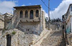 Παλαιό σπίτι πετρών στο εβραϊκό τέταρτο της παλαιάς πόλης Safed Ισραήλ Στοκ Φωτογραφίες