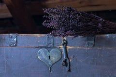 Παλαιό στήθος με διαμορφωμένη την καρδιά κλειδαρότρυπα Στοκ εικόνες με δικαίωμα ελεύθερης χρήσης