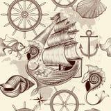Παλαιό σχέδιο με το σκάφος, τα κοχύλια και το χάρτη, σκοντάφτοντας θέμα Στοκ εικόνες με δικαίωμα ελεύθερης χρήσης