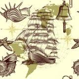 Παλαιό σχέδιο με το σκάφος, τα κοχύλια και το χάρτη, σκοντάφτοντας θέμα Στοκ Εικόνες