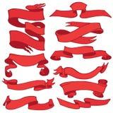 Παλαιό σύνολο εμβλημάτων κορδελλών Σχέδιο χεριών αναδρομικό Κόκκινος Στοκ Φωτογραφία