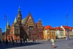 Παλαιό τετράγωνο πόλεων και αγοράς στην Πολωνία, Ευρώπη, WROCLAW, ΠΟΛΩΝΊΑ - 12 09 2016 Στοκ Φωτογραφία