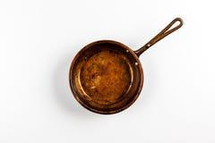 Παλαιό τηγάνι χαλκού Στοκ εικόνες με δικαίωμα ελεύθερης χρήσης