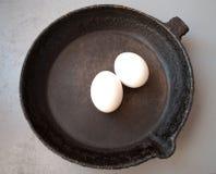 Παλαιό τηγανίζοντας τηγάνι χυτοσιδήρου Στοκ Εικόνες