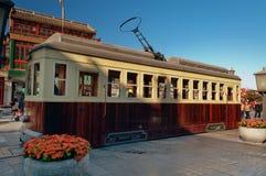 Παλαιό τραμ στην οδό Qianmenl στο Πεκίνο. Κίνα Στοκ εικόνες με δικαίωμα ελεύθερης χρήσης