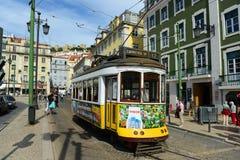 Παλαιό τραμ στη Λισσαβώνα, Πορτογαλία Στοκ Φωτογραφίες