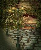 Παλαιό υπόβαθρο πάγκων φθινοπώρου πόλεων Στοκ εικόνα με δικαίωμα ελεύθερης χρήσης