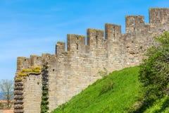 Παλαιό υπόβαθρο Brickwall, Carcassonne Στοκ φωτογραφία με δικαίωμα ελεύθερης χρήσης
