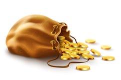 Παλαιό υφαντικό πορτοφόλι σάκων που γεμίζουν με τα χρυσά χρήματα νομισμάτων απεικόνιση αποθεμάτων