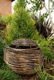 Παλαιό ψάθινο καλάθι σε έναν εγχώριο κήπο Στοκ Φωτογραφίες