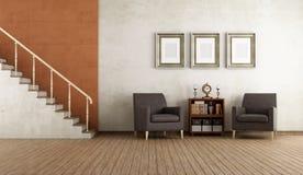 Παλαιό δωμάτιο με το stircase πολυθρόνων Στοκ Εικόνα