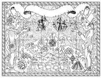 Παλαιό maya ή των Αζτέκων χάρτης των θησαυρών, έννοια περιπετειών πειρατών απεικόνιση αποθεμάτων