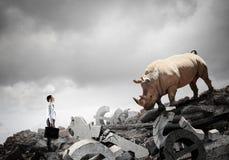 Παλεύοντας αντίπαλος επιχειρηματιών Μικτά μέσα στοκ εικόνες