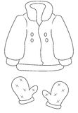 Παλτό και γάντια που χρωματίζουν τη σελίδα διανυσματική απεικόνιση