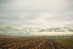 Πεδίο, βουνά & σύννεφα Στοκ εικόνα με δικαίωμα ελεύθερης χρήσης