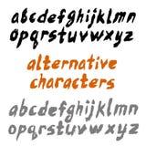 Πεζά γράμματα γραπτό χέρι ABC πηγών βουρτσών με τις εναλλακτικές λύσεις διανυσματική απεικόνιση